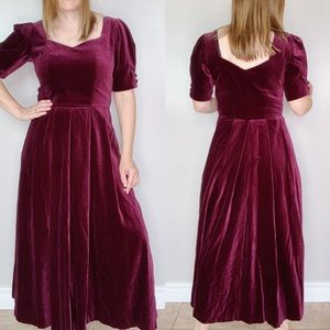 Laura Ashley Vintage Velvet Puff Sleeve Dress
